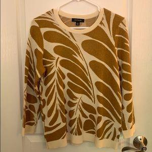 New Ann Taylor Cream & Gold Leaf Sweater Size M